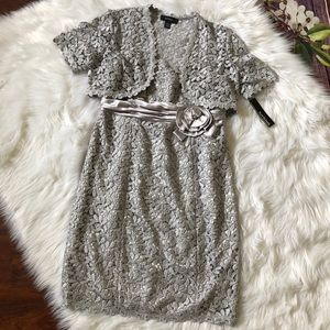R&M Richards Silver Shimmer Lace Dress
